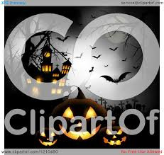 haunted clipart halloween full moon pencil and in color haunted