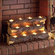 decorating cool fireplace candelabra with log tea light holders