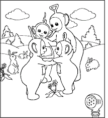 teletubbies gather garden coloring picture kids