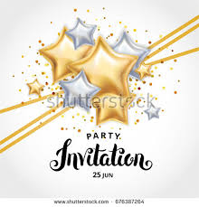 gold star balloon bouquet invitation greeting stock vector