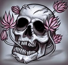 how to draw a skull and flowers step by step skulls pop culture