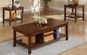 brown coffee table set brown wood finish 3pc coffee table set w additional shelf