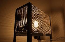 vintage metal grid edison table lamp id lights