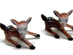 vintage fawn deer ornament figures small by yellowmod