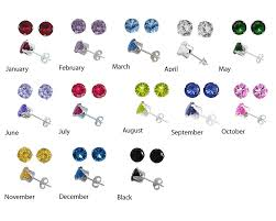 s birthstone earrings 925 sterling silver cz birthstone stud earrings sizes 2 3 4 5 6 7