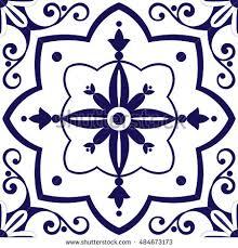 arabic tiles pattern vector blue white stock vector 484673173