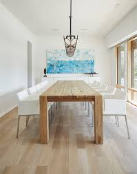 White And Oak Dining Table Modern Dining Room With Gray Stained White Oak Floors Dining