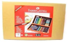 faber castell wooden colouring box felt tips crayons aquarelle