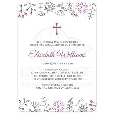 printable confirmation invitations first holy communion confirmation invitation with purple flower border