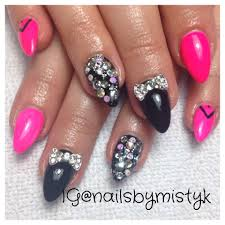 stiletto nails gelish and shellac nail art bow nail design with