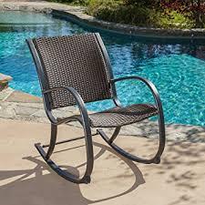 Rocking Chair Patio Furniture by Amazon Com Leann Outdoor Dark Brown Wicker Rocking Chair Patio