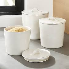 pottery canisters kitchen marin white ceramic kitchen canisters crate and barrel