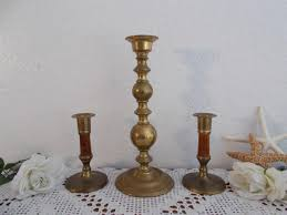 vintage gold brass unity wedding candle holder set mid century