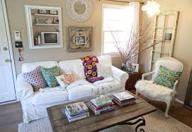 shabby chic living rooms ideas brown rug fireplace wall stone