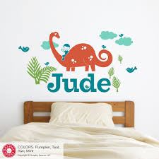 brontosaurus dinosaur boy rider name wall decal graphic spaces