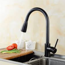 pull out spray kitchen faucets polished black brass swivel kitchen sinks faucet 360 degree rotating
