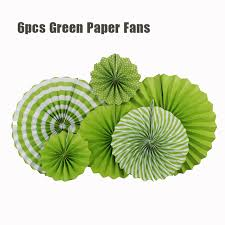 hanging paper fans 6pcs set green set hanging paper fans for party birthday wedding