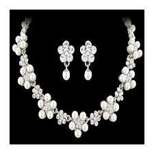 bridal pearl necklace sets images Elegant bridal necklace set set with ivory faux pearls jpg