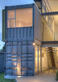 8 shipping containers make up a stunning 2 story home view in
