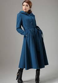 Long Trench Coats For Women Blue Coat Wool Coat Swing Coat Womens Coat Long Coat