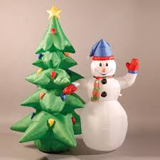 inflatable 180cm 6ft snowman and christmas tree 56 99