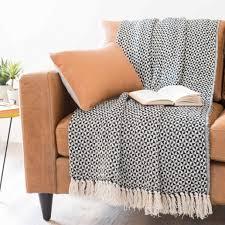 plaid coton canapé confortable plaid canapé maison du monde jet en coton noirblanc 130