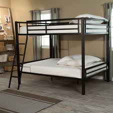 Black Wooden Bunk Beds Black Steel Bunk Bed With White Bed Sheet Plus Black Steel Stairs