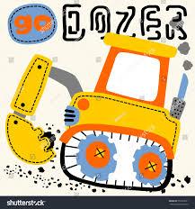 bulldozer big yellow digger vector cartoon stock vector 556393651