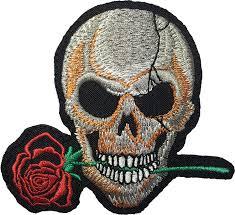 halloween patches skeleton skull bite rose biker punk ride motorcycle jacket diy