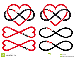infinity sign hearts with infinity sign for mom dad vector set stock vector