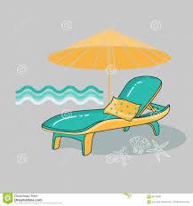 Beach Lounge Chair Umbrella Vector Summer Cartoon Illustration Of Beach Lounge Chair Stock