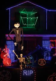 corona home u0027s u0027halloween town u0027 pulses with lights synchronized to
