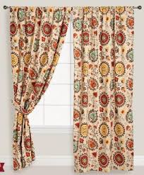 teal red yellow orange brown cotton curtains in east village