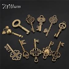 diy necklace vintage images Kiwarm 11pcs antique vintage old look bronze skeleton key fancy jpg