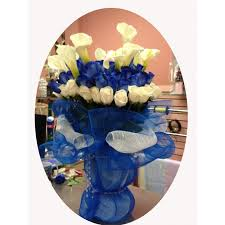 white and blue roses blue and white roses arrangement event flowers ny