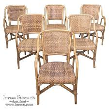 Next Armchairs Set Of 6 Mid Century French Bamboo U0026 Rattan Armchairs Dining Chairs