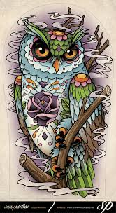 sugar skull owl tattoo by sam phillips nz on deviantart