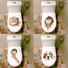compare prices on adhesive decorative wall stickers online 3d cats dogs wall sticker adhesive toilet hole vivid view room bathroom decorative stickers animal vinyl