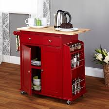 furniture red movable kitchen island with wine storage and cabinets