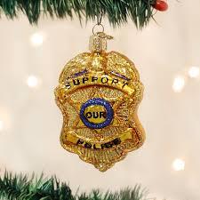 amazon com old world christmas police badge glass blown ornament