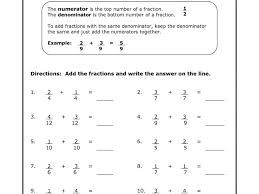 printable math worksheets fractions free printable math worksheets for 5th grade adding fractions
