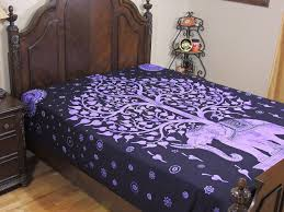 Elephant Bedroom Decor Purple Elephant Tapestry Bed Sheet Tree Of Life Cotton Ethnic