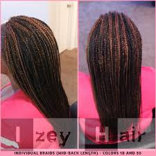 medium length hairstyles from the back individuals braids colors 1b and 30 mid back length izey