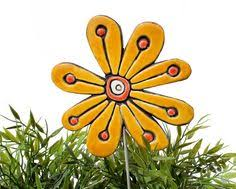 Ceramic Garden Decor Garden Art Stakes 3 Medium Abstract Garden Decor Textured Lawn