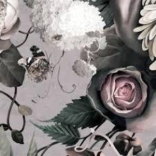 dark floral ii black desaturated floral wallpaper by ellie