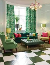 Green Checkered Curtains Emerald Green Curtain With Fresh Modern Living Room And Square