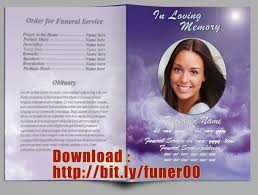 funeral obituary templates funeral program obituary template in word a4 purple sky design