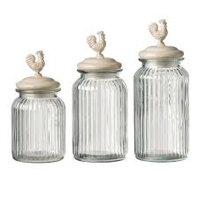 glass kitchen canister set white ceramic hen cap clear glass modern kitchen