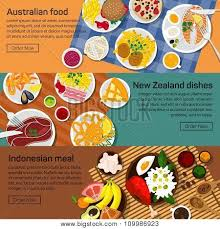 posters cuisine vector flat illustration of australia zealand indonesia