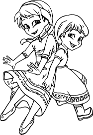very cute girls anna elsa coloring page wecoloringpage